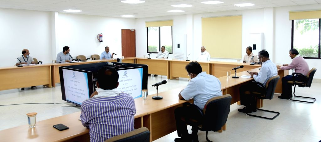 Bihar Chief Minister Nitish Kumar holds a high-level meeting to review flood preparedness in the state, in Patna on June 23, 2020. - Nitish Kumar