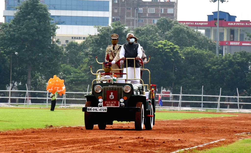 Bihar Chief Minister Nitish Kumar inspects the 74th Independence Day parade at Gandhi Maidan in Patna on Aug 15, 2020. - Nitish Kumar