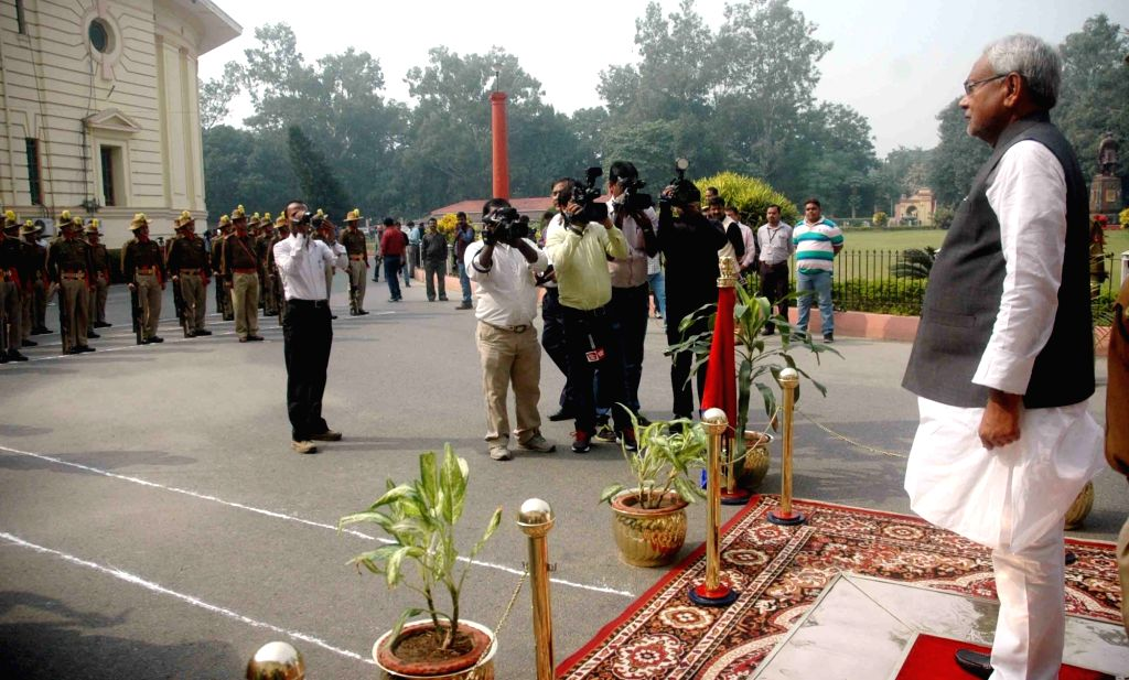 Bihar Chief Minister Nitish Kumar inspects the guard of honour outside the secretariat in Patna on Nov 21, 2015.