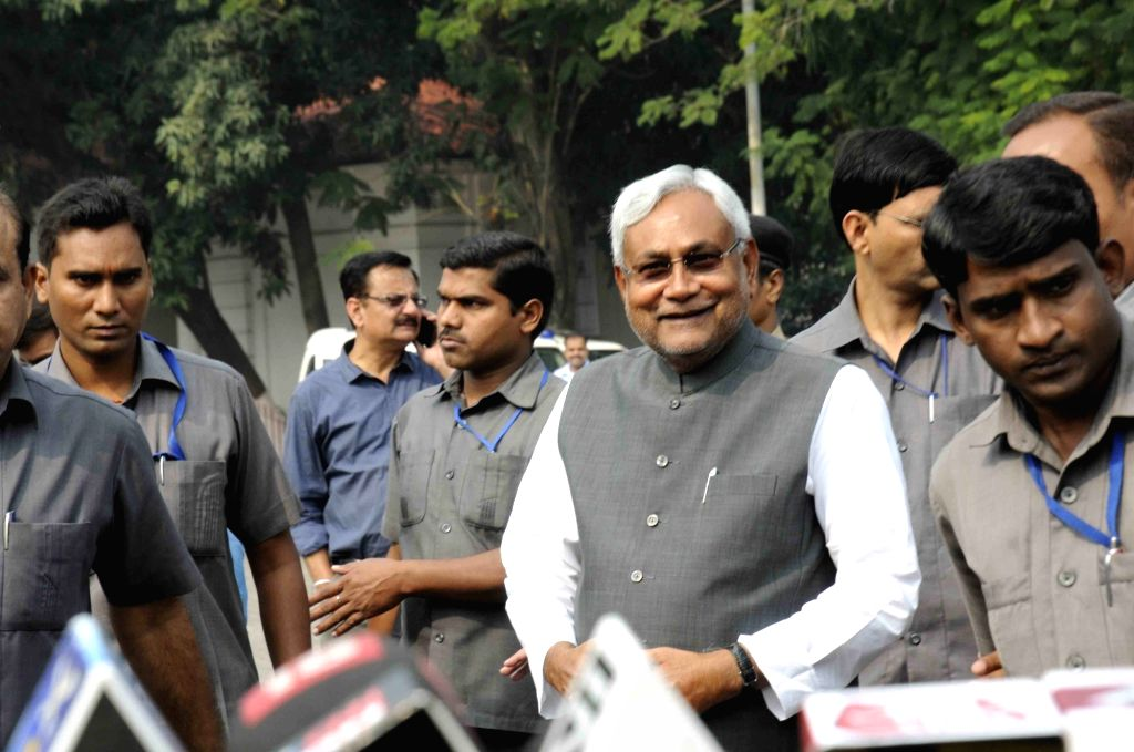 Bihar Chief Minister Nitish Kumar interacts with journalists in Patna, on Nov 14, 2015.