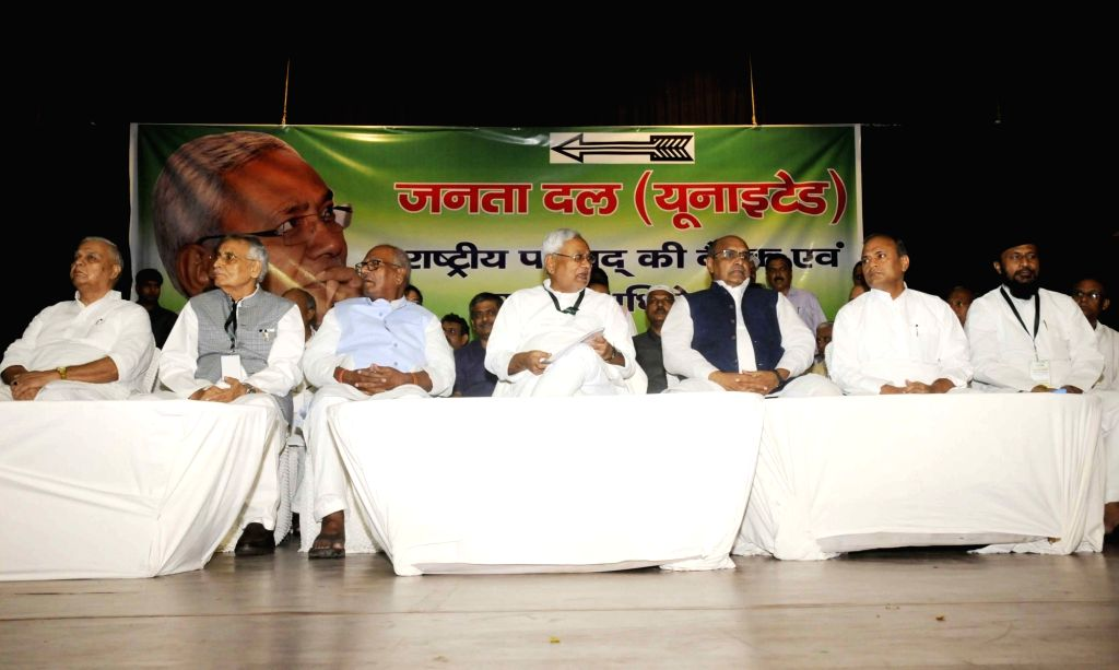 Bihar Chief Minister Nitish Kumar, JD(U) leaders Mahendra Prasad Singh, Bashistha Narain Singh and party's Chief General Secretary and National Spokesperson K. C. Tyagi during the party's ... - Nitish Kumar, Mahendra Prasad Singh and Bashistha Narain Singh