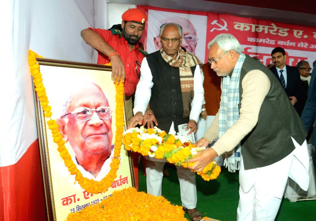 Bihar Chief Minister Nitish Kumar pays tribute to CPI leader A B Bardhan in Patna on Jan 20, 2016. - Nitish Kumar