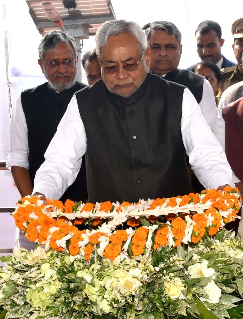 Bihar Chief minister Nitish Kumar pays tribute to Former President Rajendra Prasad on his birth anniversary in Patna on Dec 3, 2018. - Nitish Kumar
