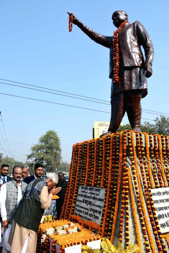 Bihar Chief Minister Nitish Kumar pays tribute to Shaheed Jagdev Prasad on his birth anniversary in Patna, on Feb 2, 2019. - Nitish Kumar