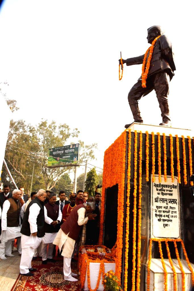 Bihar Chief Minister Nitish kumar pays tributes to Netaji Subhas Chandra Bose on his birth anniversary in the presence of the state's Governor Satya Pal Mallik and Cabinet Minster Nand Kishore ... - Nitish