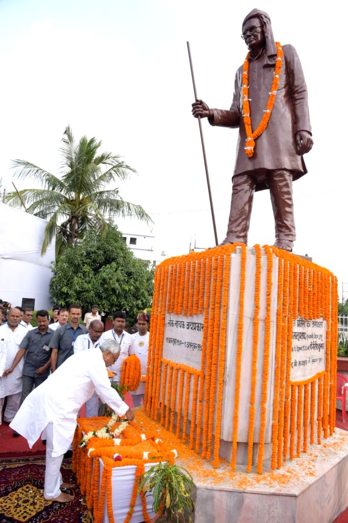 Bihar Chief Minister Nitish Kumar pays tributes to Loknayak Jayaprakash Narayan on his birth anniversary, in Patna on Oct 11, 2019. - Nitish Kumar