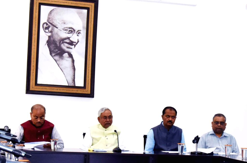 Bihar Chief Minister Nitish Kumar presides over the review meeting of the Rural Works Department, in Patna on Oct 28, 2019. - Nitish Kumar