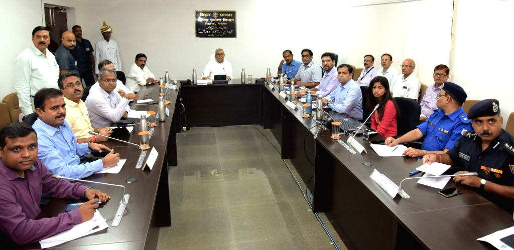 Bihar Chief Minister Nitish Kumar presides over a meeting of Bihar State Distater Management Authority, where he sought report from District Collectors over flood relief work via video ... - Nitish Kumar