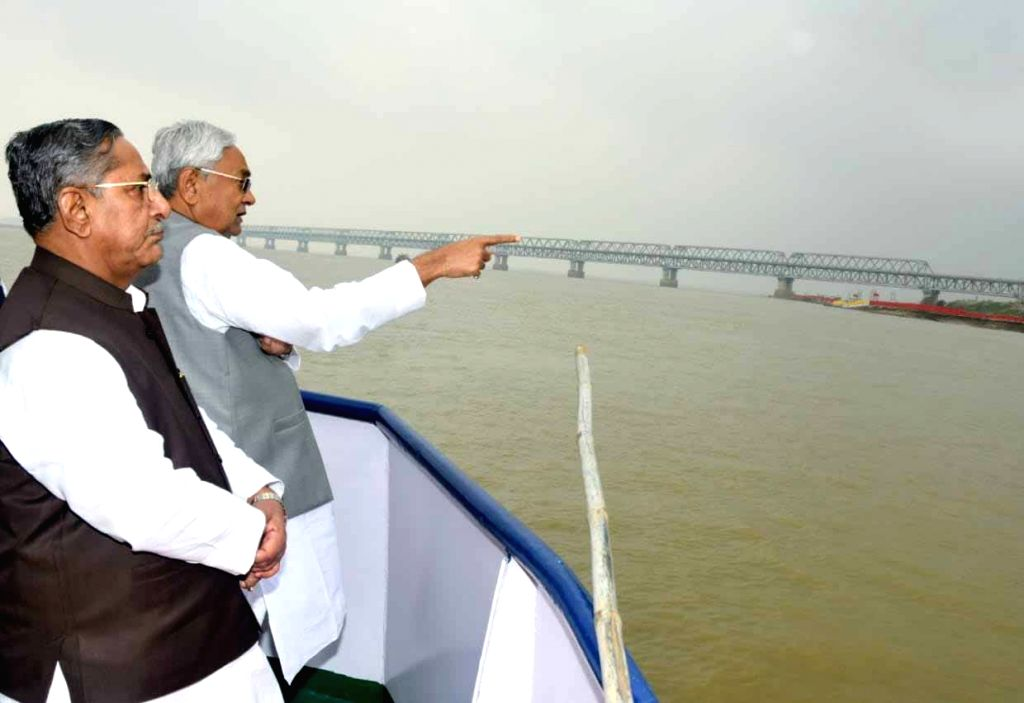 Bihar Chief Minister Nitish Kumar reviews preparations for Chhath Puja during his visit to Ganga ghats in Patna on Oct 25, 2019. - Nitish Kumar