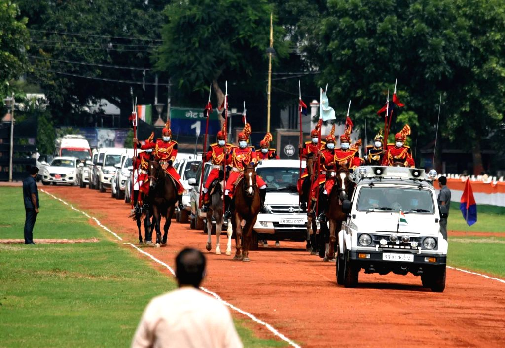 Bihar Chief Minister Nitish Kumar's convoy arrives at Gandhi Maidan for the 74th Independence Day celebrations in Patna on Aug 15, 2020. - Nitish Kumar