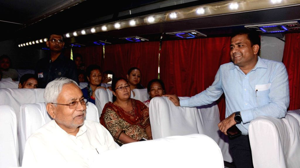 Bihar Chief Minister Nitish Kumar takes a ride in a bus newly flagged off under the Indo-Nepal Bus Service from Bodh Gaya to Kathmandu and Patna to Janakpur; in Patna on Sept 11, 2018. - Nitish Kumar