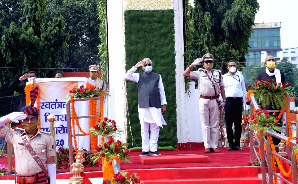Bihar Chief Minister Nitish Kumar takes salute from the marching contingents during the 74th Independence Day parade at Gandhi Maidan in Patna on Aug 15, 2020. - Nitish Kumar