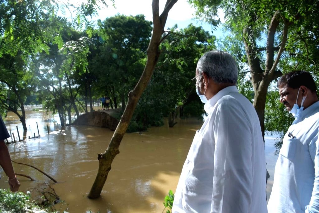 Bihar Chief Minister Nitish Kumar takes stock of the flood affected areas of Nalanda and Nawada districts due to heavy rain in Nalanda Districts  on Wednesday October 02,2021. - Nitish Kumar