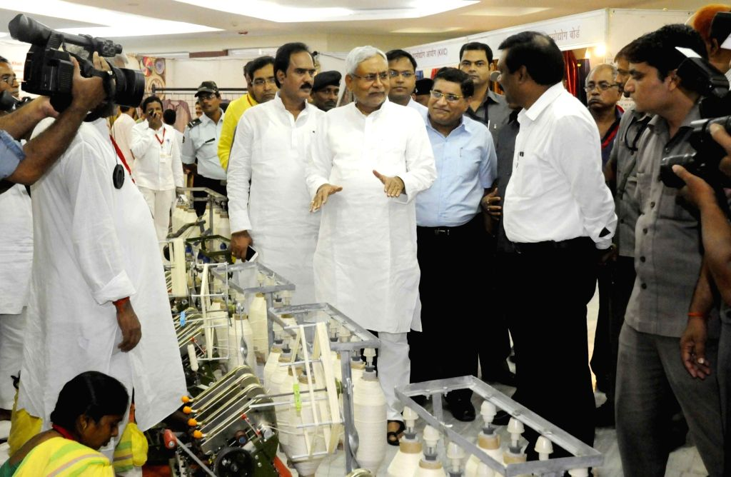 Bihar Chief Minister Nitish Kumar visits Charkha exibition during Rashtriya Charkha Diwas at Adhiveshan Bhawan in Patna on Sept 24, 2016. - Nitish Kumar