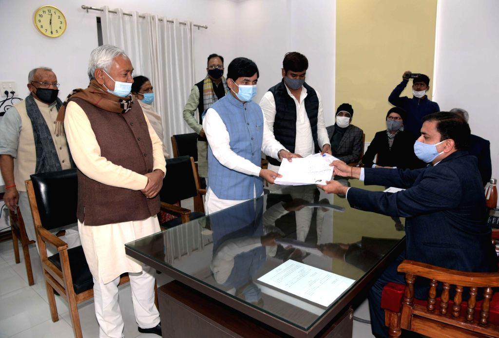 Bihar CM Nitish Kumar in Shahnawaz Hussain and Mukesh Sahni's nomination in Patna on Jan 18, 2021. - Nitish Kumar