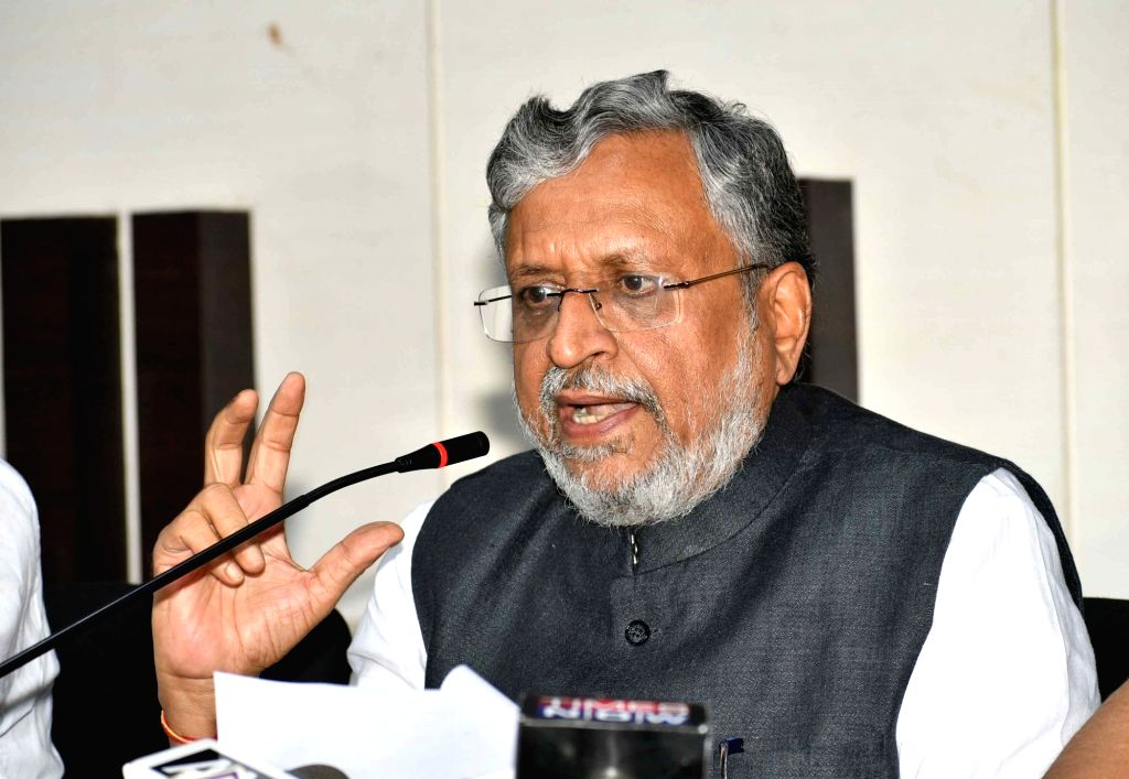 Bihar Deputy Chief Minister and BJP leader Sushil Kumar Modi addresses a press conference at the party office, in Patna on June 30, 2018. - Sushil Kumar Modi