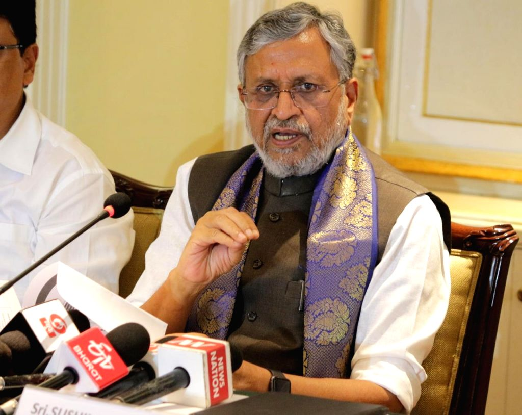 Bihar Deputy Chief Minister and Head of Group of Ministers (GoM) on GST Revenue shortfall faced by the states, addresses a press conference in Bengaluru on Sep 14, 2019.