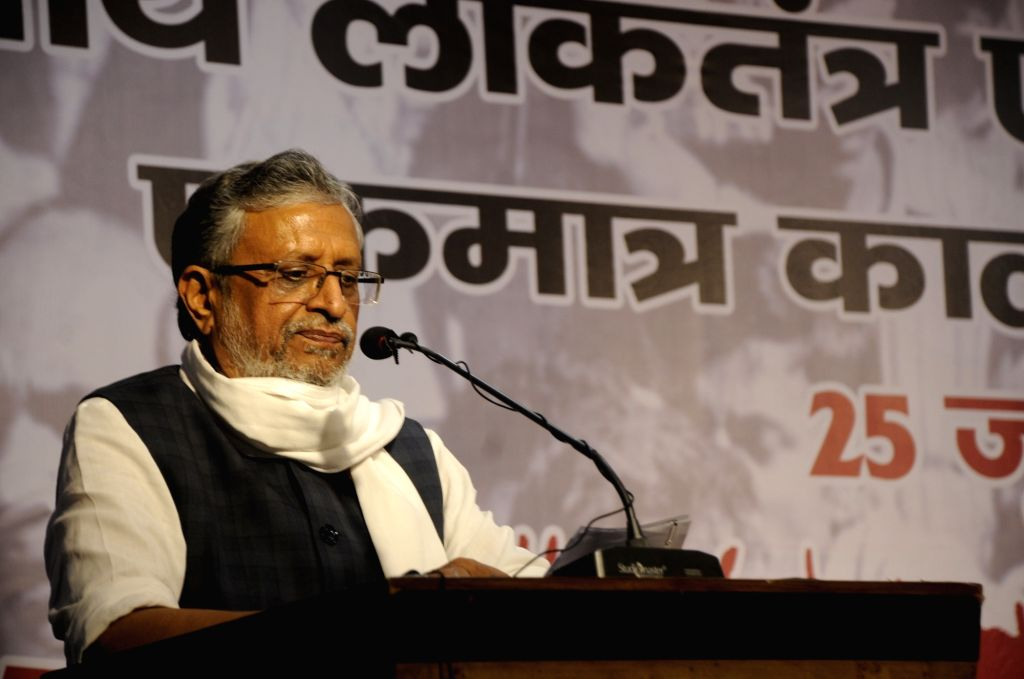 "Bihar Deputy Chief Minister Sushil Kumar Modi addresses at a seminar on ""The Darkest Chapter in the history of Indian politics and Democracy: Emergency"", in Patna on June 25, 2020. - Sushil Kumar Modi"