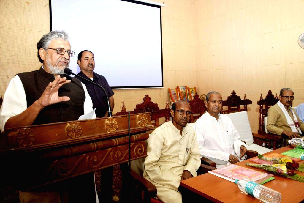 Bihar Deputy Chief Minister Sushil Kumar Modi addresses during a programme in Patna on April 3, 2018. - Sushil Kumar Modi