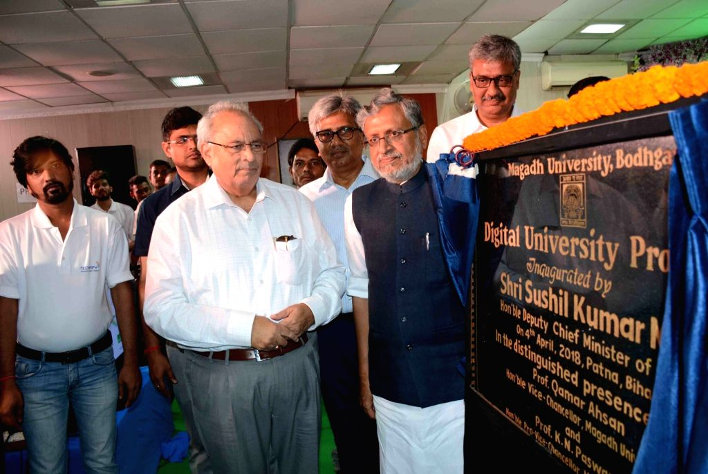 Bihar Deputy Chief Minister Sushil Kumar Modi during the inauguration of  Digital University Project at Magadh University in Patna on April 4, 2018. - Sushil Kumar Modi