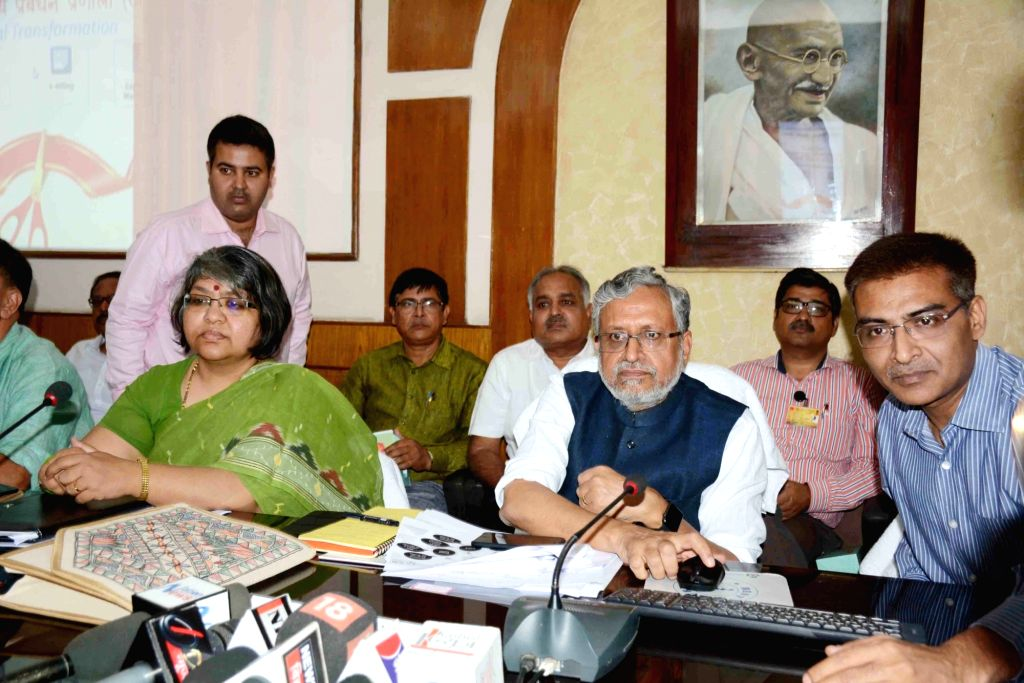 Bihar Deputy Chief Minister Sushil Kumar Modi talks to press in Patna on April 4, 2018. - Sushil Kumar Modi