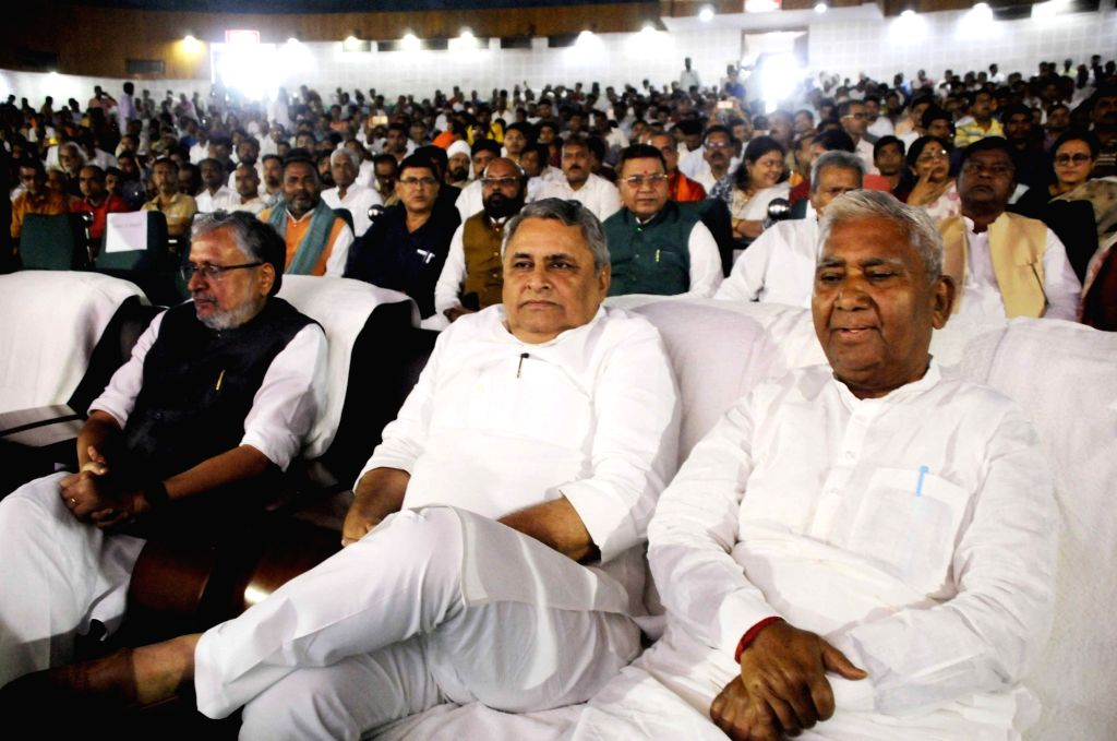 Bihar Deputy Chief Minister Sushil Kumar Modi during a prayer meeting organised in the memory of former Prime Minister Late Atal Bihari Vajpayee, in Patna on Aug 21, 2018. - Sushil Kumar Modi and Atal Bihari Vajpayee