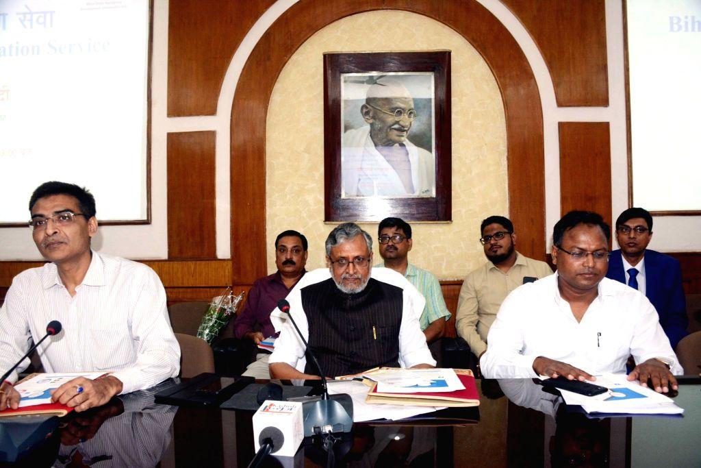 Bihar Deputy Chief Minister Sushil Kumar Modi during a meeting in Patna on Sept 18, 2018. - Sushil Kumar Modi
