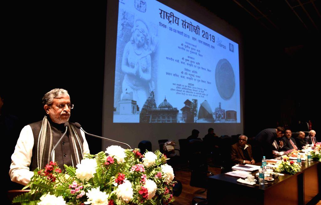 Bihar Deputy Chief Minister Sushil Kumar Modi addresses at a seminar on archaeology in Patna on Feb 6, 2019. - Sushil Kumar Modi