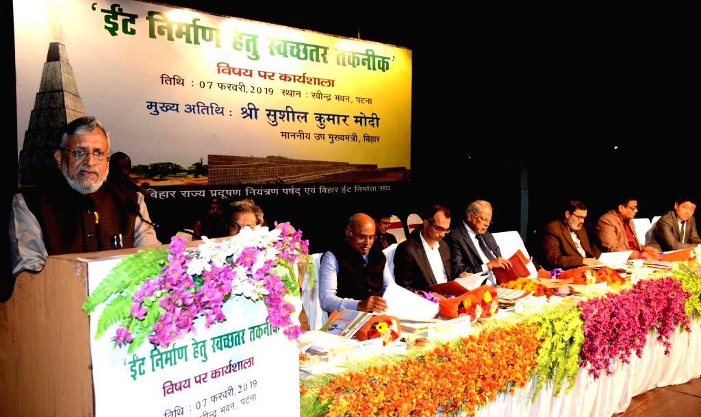 Bihar Deputy Chief Minister Sushil Kumar Modi addresses during a workshop in Patna, on Feb 7, 2019. - Sushil Kumar Modi