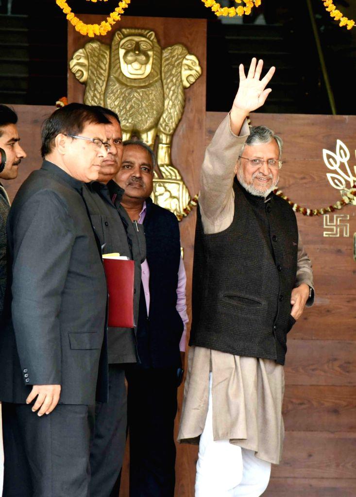 Bihar Deputy Chief Minister Sushil Kumar Modi arrives at state assembly in Patna on Feb 12, 2019. - Sushil Kumar Modi