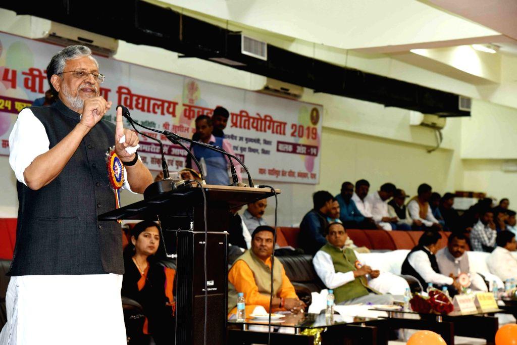 Bihar Deputy Chief Minister Sushil Kumar Modi addresses during a programme in Patna on Feb 22, 2019. - Sushil Kumar Modi