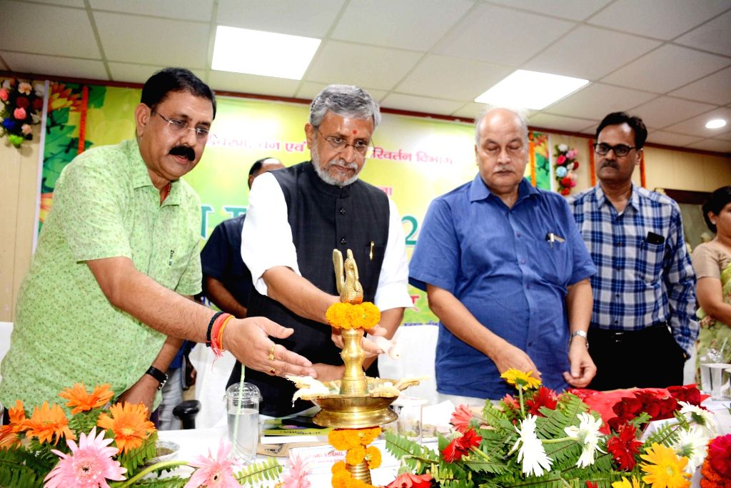 "Bihar Deputy Chief Minister Sushil Kumar Modi during inauguration of ""Van Mahotsav"" in a Patna college on Aug 2, 2019. - Sushil Kumar Modi"