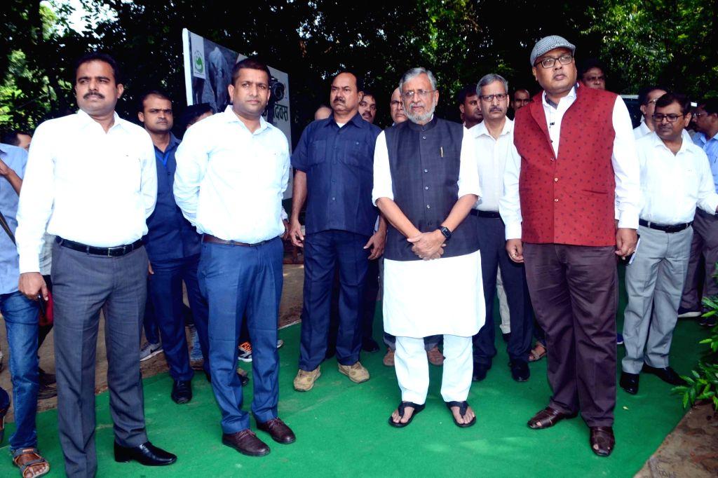 Bihar Deputy Chief Minister Sushil Kumar Modi during his visit to the Sanjay Gandhi Jaivik Udyan to attend a programme organised to mark World Rhino Day, in Patna on Sep 23, 2019. - Sushil Kumar Modi