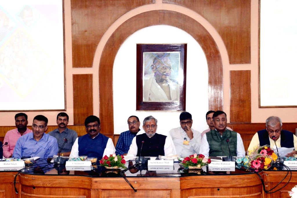 Bihar Deputy Chief Minister Sushil Kumar Modi presides over a meeting with the state Education Department over the constitution of a 'Children's Budget' at the Old Secretariat in Patna on Nov ... - Sushil Kumar Modi