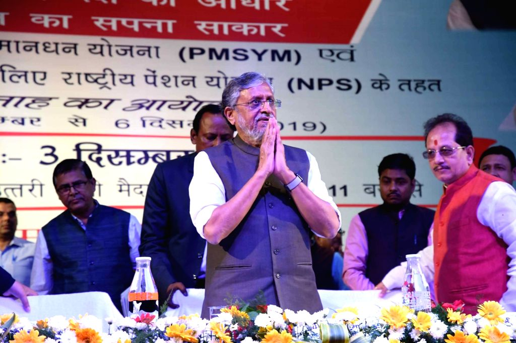 Bihar Deputy Chief Minister Sushil Kumar Modi during a programme organised to observe Pension Week, in Patna on Dec 3, 2019. - Sushil Kumar Modi