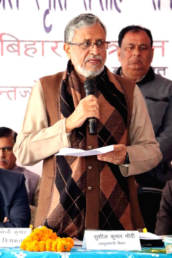 Bihar Deputy Chief Minister Sushil Kumar Modi addresses at the inauguration of Louis Braille Remembrance Week in Patna on Jan 11, 2020. - Sushil Kumar Modi