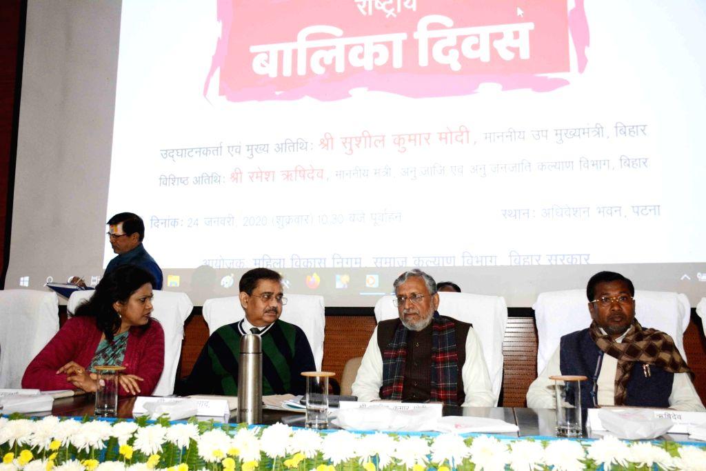 Bihar Deputy Chief Minister Sushil Kumar Modi during a programme organised to mark the National Girl Child Day, in Patna on Jan 24, 2020. - Sushil Kumar Modi