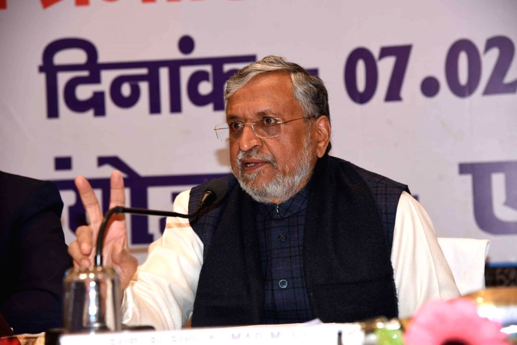Bihar Deputy Chief Minister Sushil Kumar Modi addresses a press conference during State Level Bankers Committee meeting in Patna on Feb 07, 2020. - Sushil Kumar Modi
