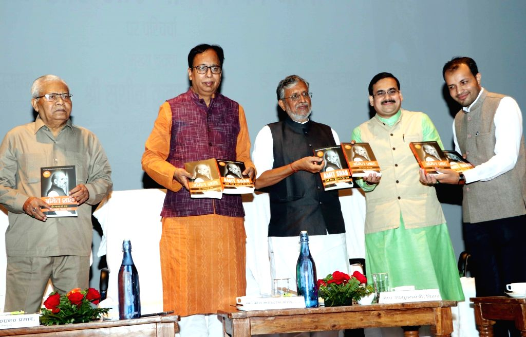"Bihar Deputy Chief Minister Sushil Kumar Modi and BJP leader Sanjay Jaiswal unveil Anirban Ganguly 's book ""Amit Shah Aur Bhajapa Ki Yatra"" in Patna on Nov 16, 2019. - Sushil Kumar Modi"