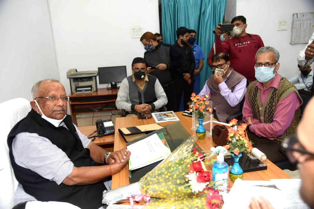 Bihar Deputy Chief Minister Tarkishore Prasad takes charge of the environment and forest department at the old Secretariat in Patna on Nov 24, 2020. - Tarkishore Prasad