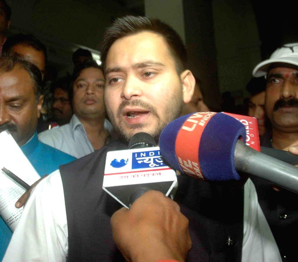 Bihar Deputy Chief Minister Tejashwi Yadav arrives at the secretariat in Patna on Nov 21, 2015.