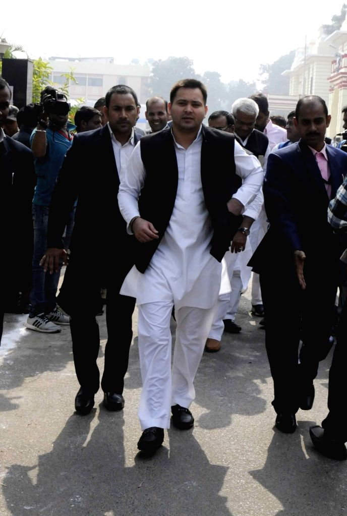 Bihar Deputy Chief Minister Tejashwi Yadav arrives on the first day of Bihar Assembly's winter session in Patna on Nov 25, 2016. - Tejashwi Yadav