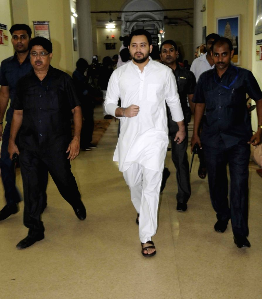 Bihar Deputy Chief Minister Tejashwi Yadav come out after a cabinet meeting at state assembly in Patna on July 30, 2016. - Tejashwi Yadav