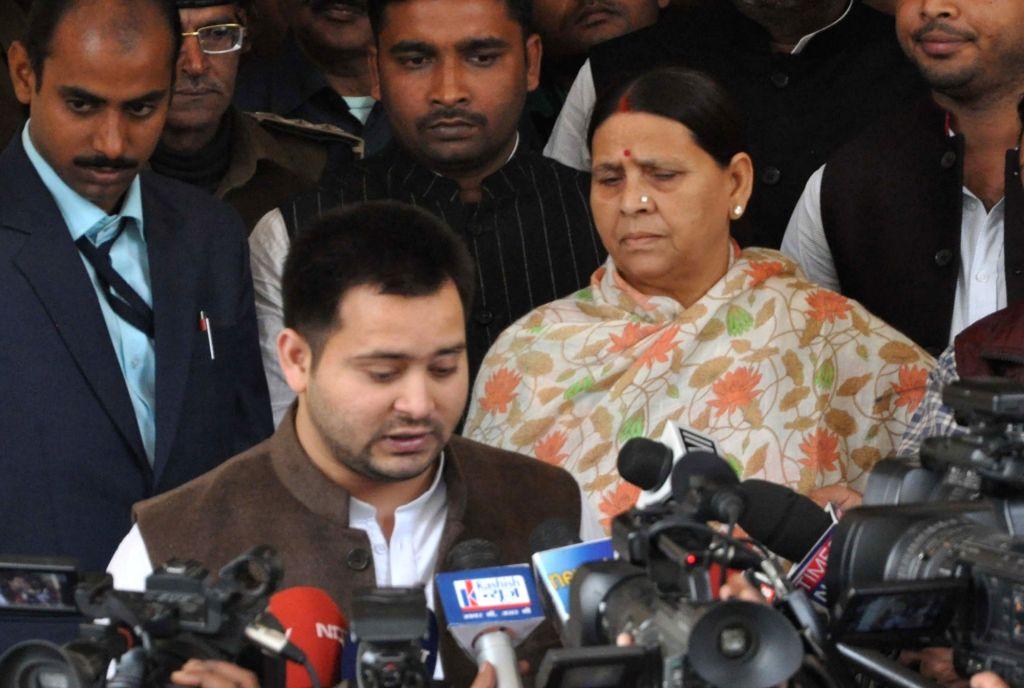 Bihar Deputy Chief minister Tejashwi Yadav talks to press in Patna on Nov 28, 2016. - Tejashwi Yadav