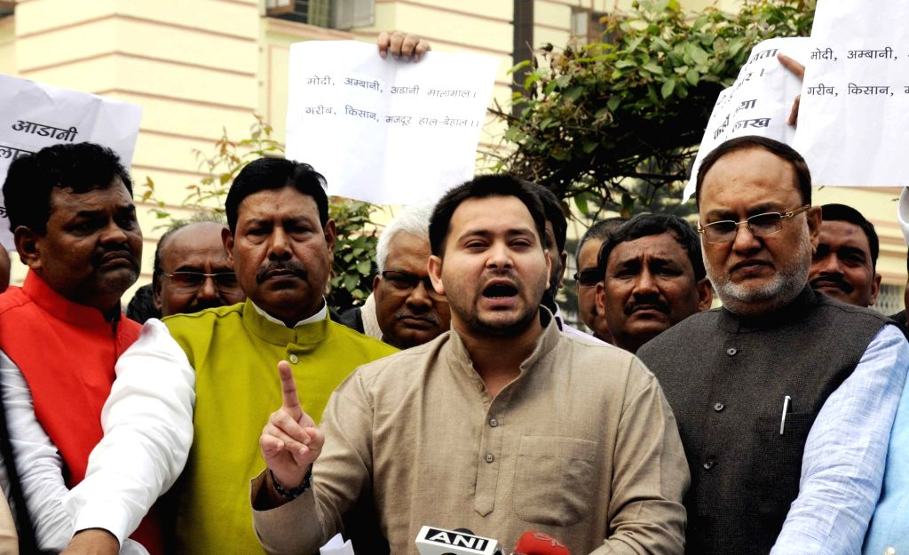 Bihar Deputy Chief minister Tejashwi Yadav talks to press at Bihar Assembly in Patna on Nov 29, 2016. - Tejashwi Yadav
