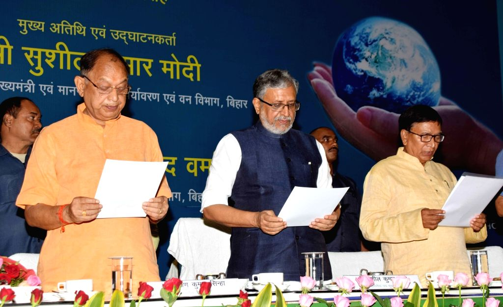 Bihar Deputy Chief Minster Sushil Kumar Modi during a programme on 'Bihar Prithvi Diwas 2018', in Patna on Aug 10, 2018.