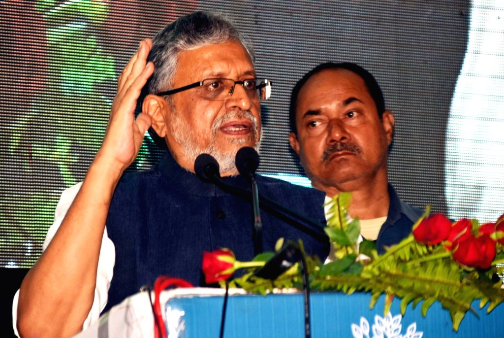 Bihar Deputy Chief Minster Sushil Kumar Modi addresses on the occasion of 'Bihar Prithvi Diwas 2018', in Patna on Aug 10, 2018.