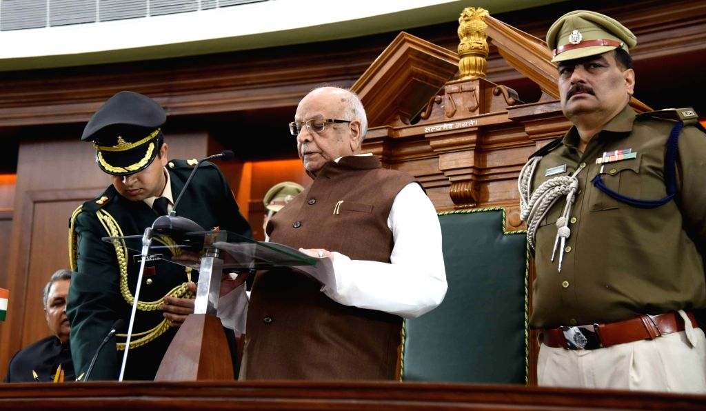 Bihar Governor Lalji Tandon addresses at state assembly on the first day of the budget session in Patna on Feb 11, 2019.