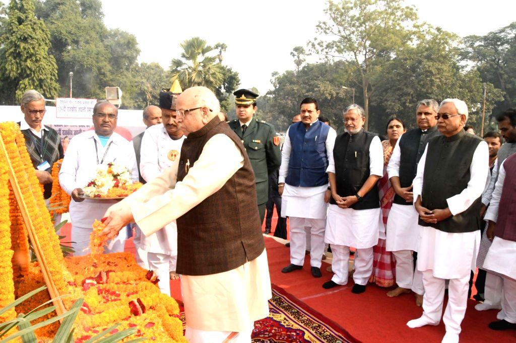 Bihar Governor Lalji Tandon pays tributes to India's first President Dr Rajendra Prasad on his 134th birth anniversary in Patna, on Dec 3, 2018. Also seen Bihar Chief Minister Nitish Kumar, ... - Nitish Kumar, Vijay Kumar Chaudhary and Sushil Kumar Modi