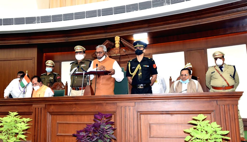 Bihar Governor Phagu Chauhan addresses during the joint sitting of both Houses of the State legislature, in Patna on Nov 26, 2020. - Phagu Chauhan